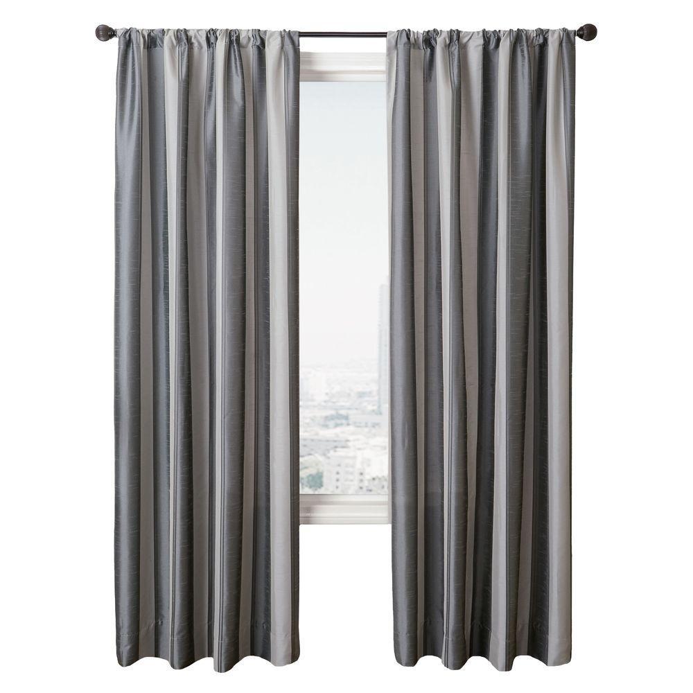 Home Decorators Collection Semi-Opaque Stripe Gunmetal Diplomat Rod Pocket Curtain - 55 in.W x 96 in. L