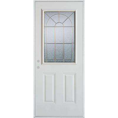 36 in. x 80 in. Geometric Zinc 1/2 Lite 2-Panel Painted White Right-Hand Inswing Steel Prehung Front Door
