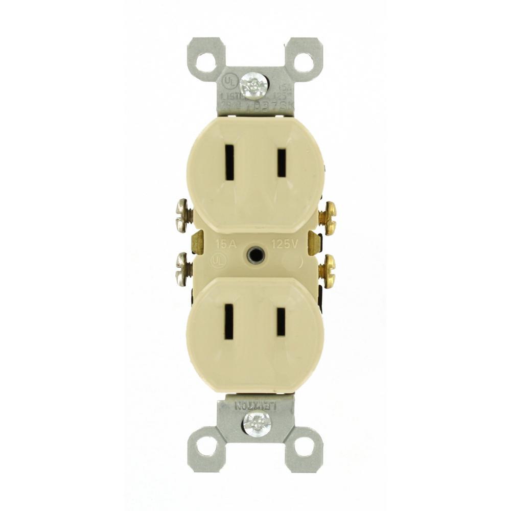 LEVITON 15 Amp 2-Wire Duplex Outlet, Ivory