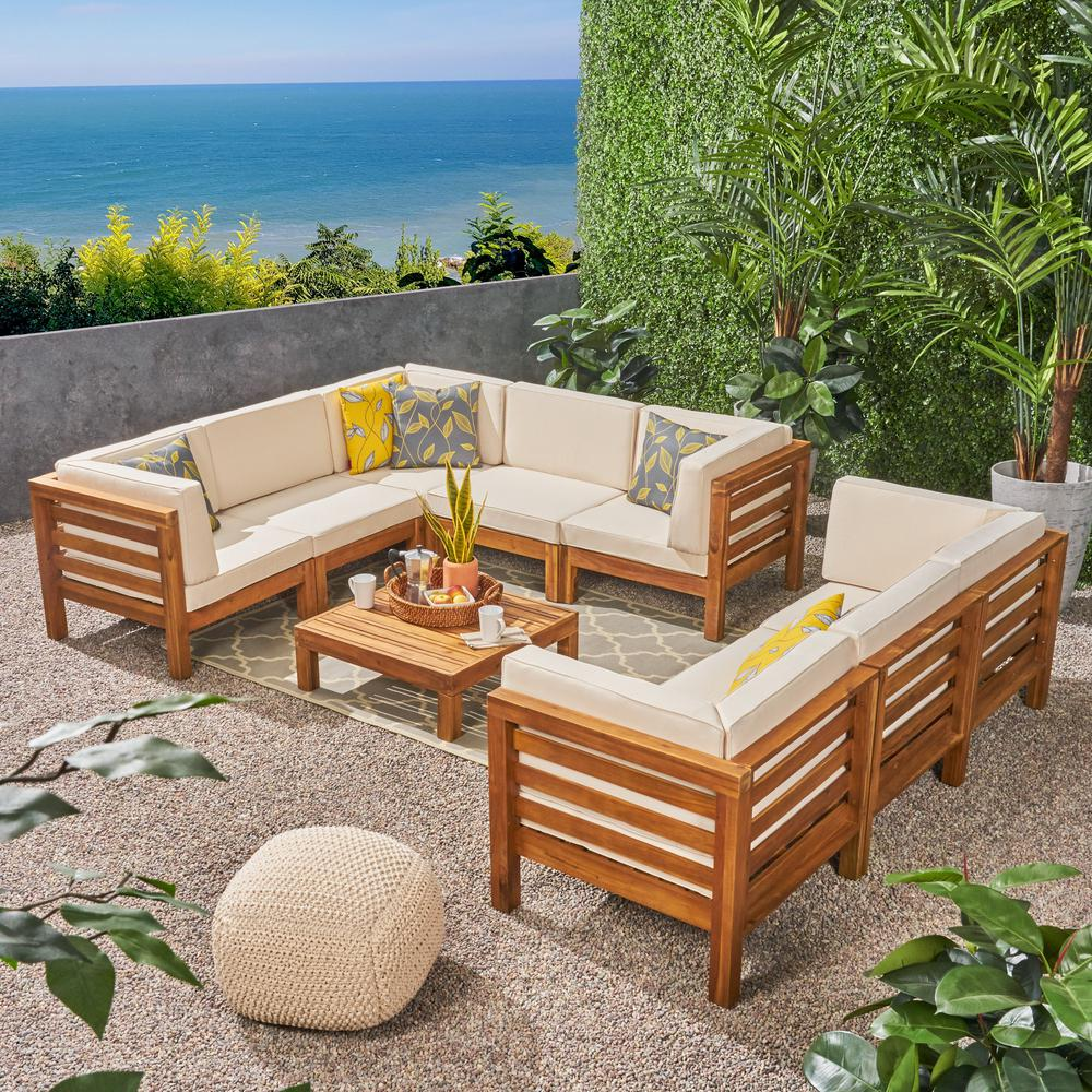Outdoor Sectional Sofa Set Le House Oana Teak Finish 4 Piece Wood Outdoor Sectional