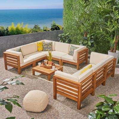 Jonah Teak Finish 9-Piece Wood Outdoor Sectional Sofa Set with Beige Cushions