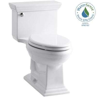 Memoris Stately 1-Piece 1.28 GPF Single Flush Elongated Toilet with AquaPiston Flush Technology in White