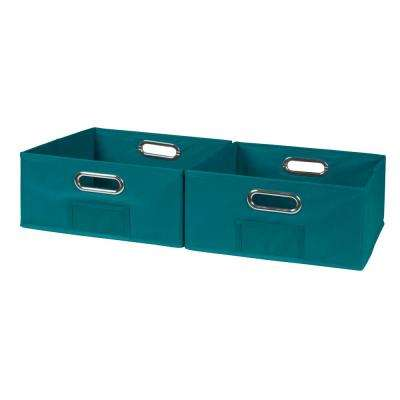 Cubo 12 in. x 6 in. Teal Folding Fabric Bin (2-Pack)