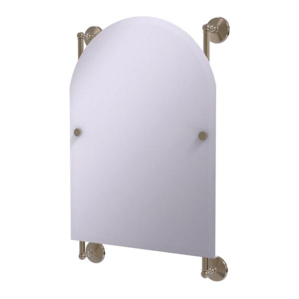 Monte Carlo Arched Top Frameless Rail Mounted Mirror in Antique Pewter