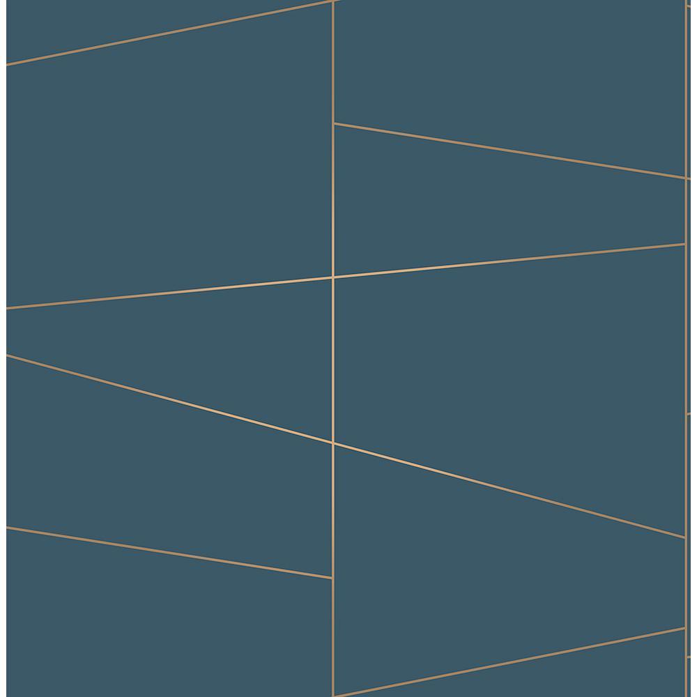 Brewster 56.4 sq. ft. Fairmont Blue Deco Fracture Wallpaper