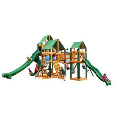 Treasure Trove II Swing Set with Timber Shield and Deluxe Green Vinyl Canopy
