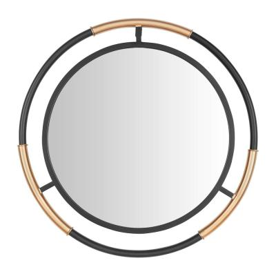 Medium Round Black & Gold Modern Accent Mirror (24 in. Diameter)