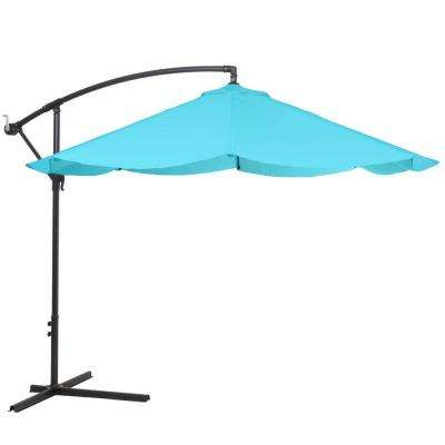 10 ft. Offset Aluminum Hanging Patio Umbrella in Blue