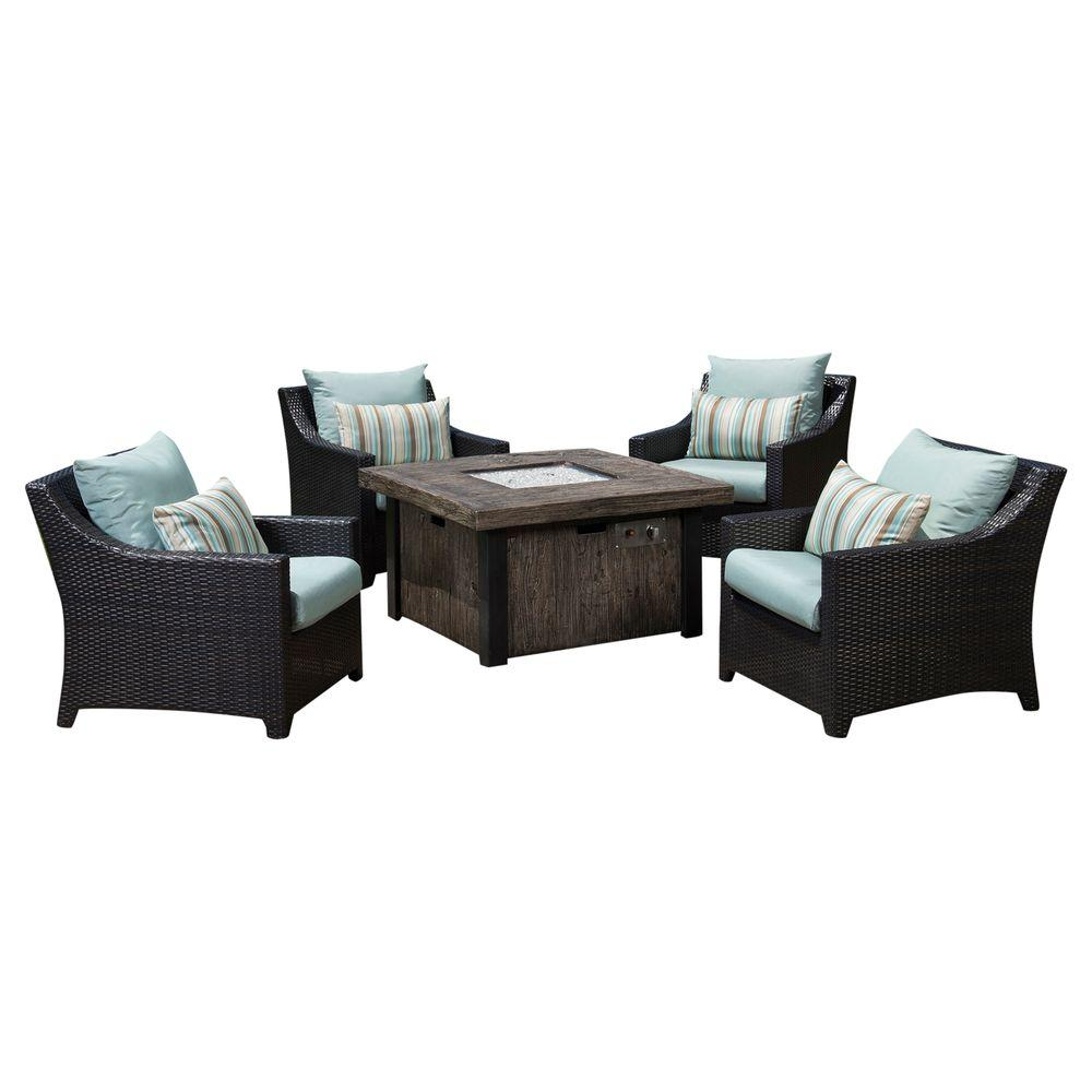 Deco 5 Piece Patio Fire Pit Seating Set With Bliss Blue Cushions