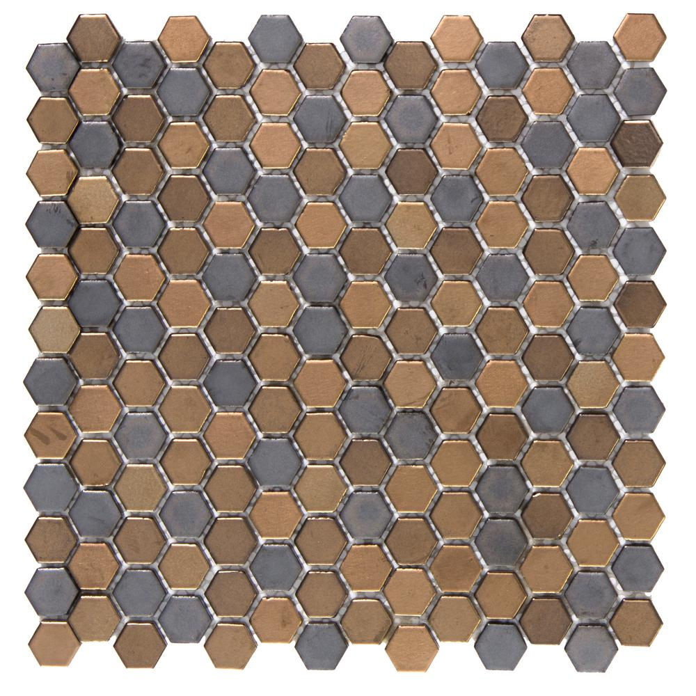 Confetti Metal 11.81 in. x 11.81 in. x 8mm Porcelain Mesh-Mounted