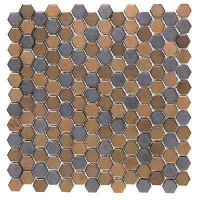 Confetti Metal 11.81 in. x 11.81 in. x 8mm Porcelain Mesh-Mounted Mosaic Tile