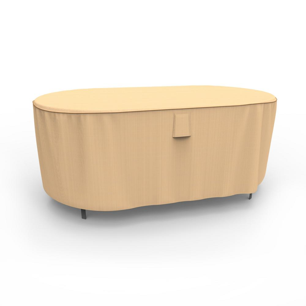 Awe Inspiring Budge Rust Oleum Neverwet Medium Tan Outdoor Oval Patio Table Cover Theyellowbook Wood Chair Design Ideas Theyellowbookinfo