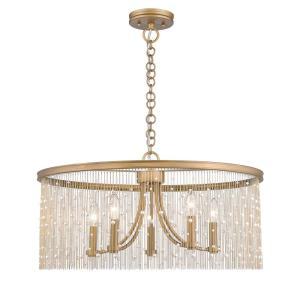 Marilyn PRL 5-Light Peruvian Gold Chandelier with Pearl Strands Shade