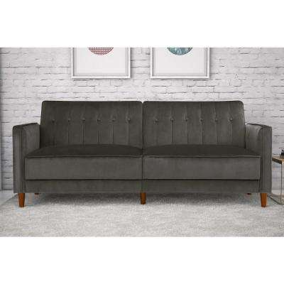 Pin Tufted Transitional Gray Velvet Twin and Double Size Futon