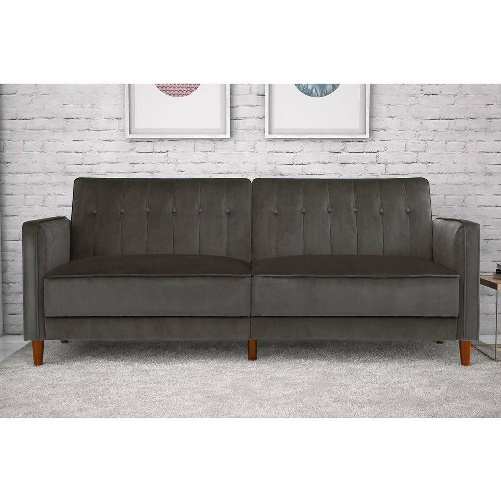 Incredible Iris Grey Velvet Tufted Futon Andrewgaddart Wooden Chair Designs For Living Room Andrewgaddartcom