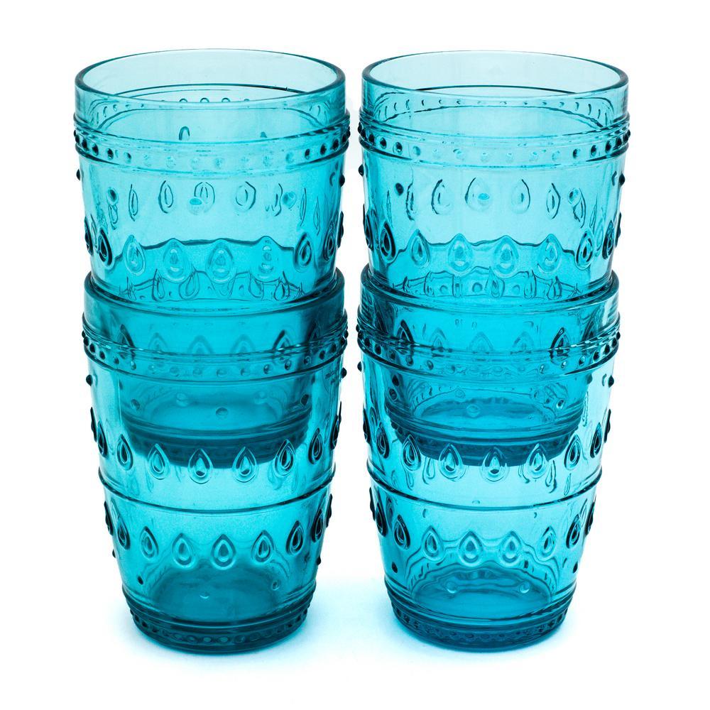 Fez 4-Piece 14 oz. Turquoise Highball Glass Set
