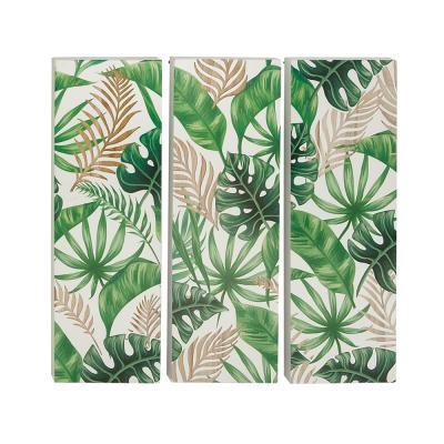 LITTON LANE Green and Brown Painted Leaves Wooden Wall Art ((Set of 3)), Green/ Beige