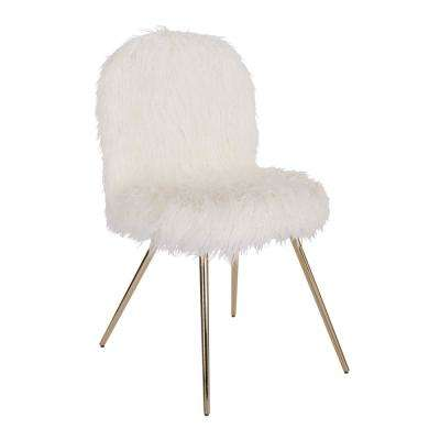 Julia White Fur Chair with Gold Legs