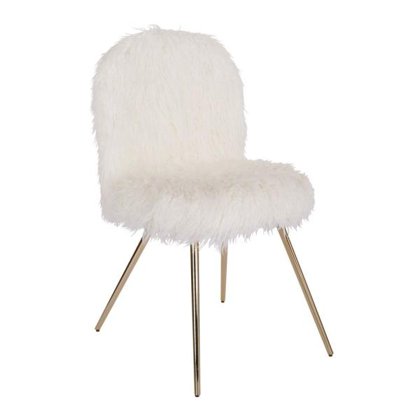 OSP Home Furnishings Julia White Fur Chair with Gold Legs
