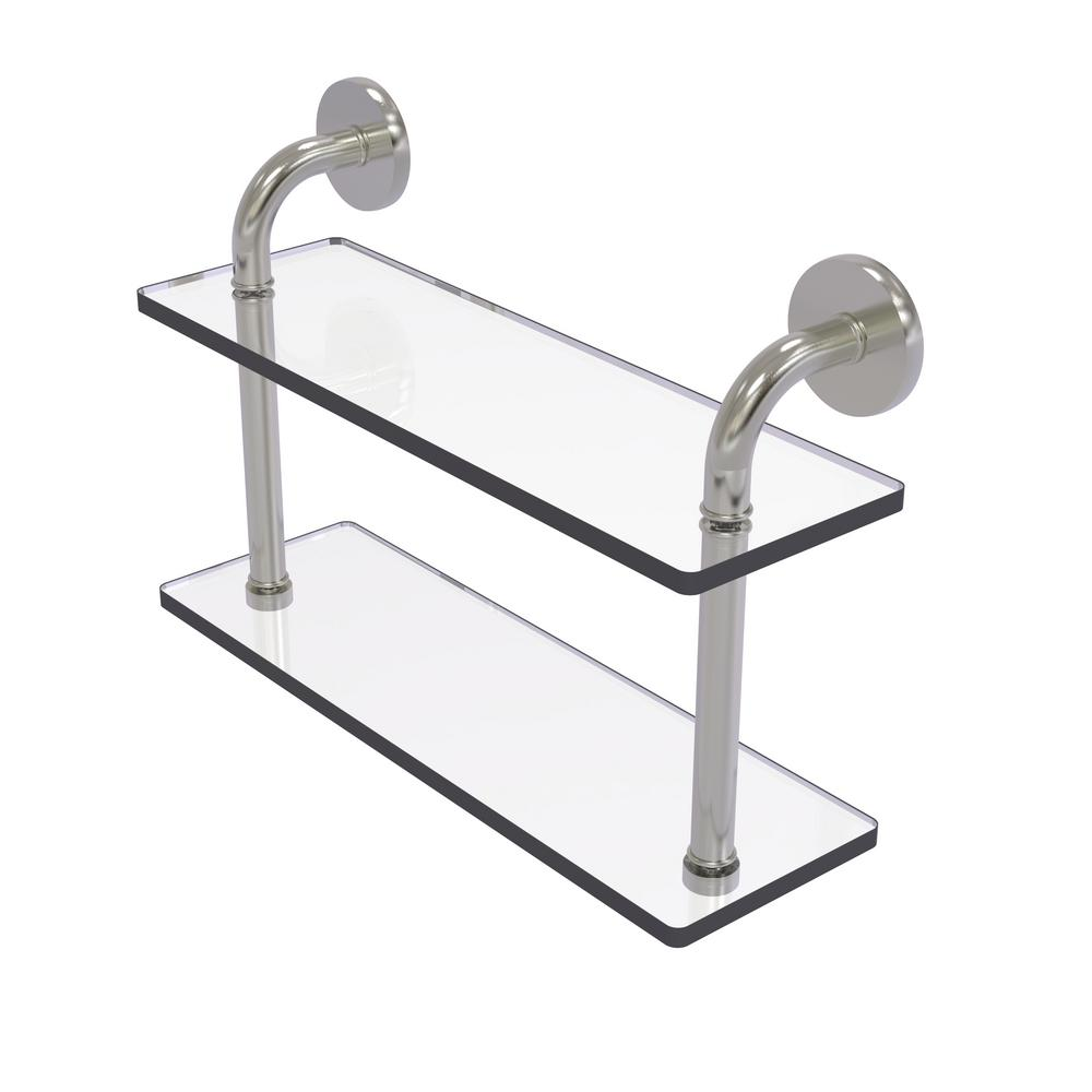 Remi Collection 16 in. 2-Tiered Glass Shelf in Satin Nickel