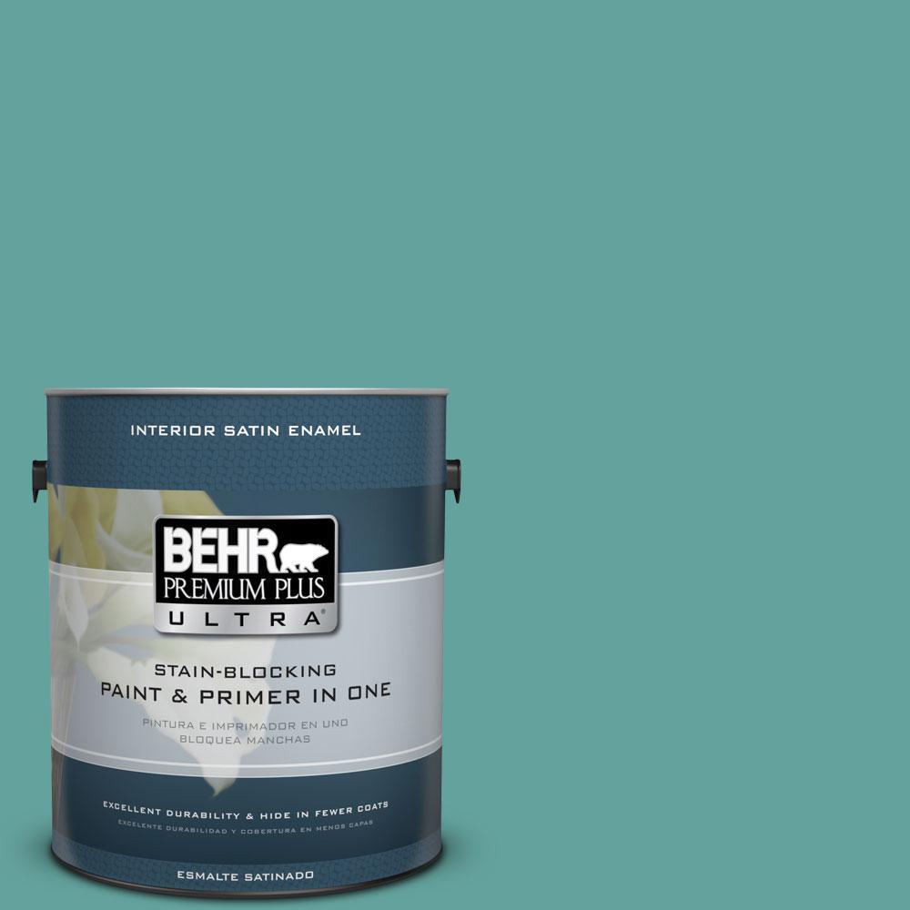 1-gal. #M450-5 Aqua Rapids Satin Enamel Interior Paint