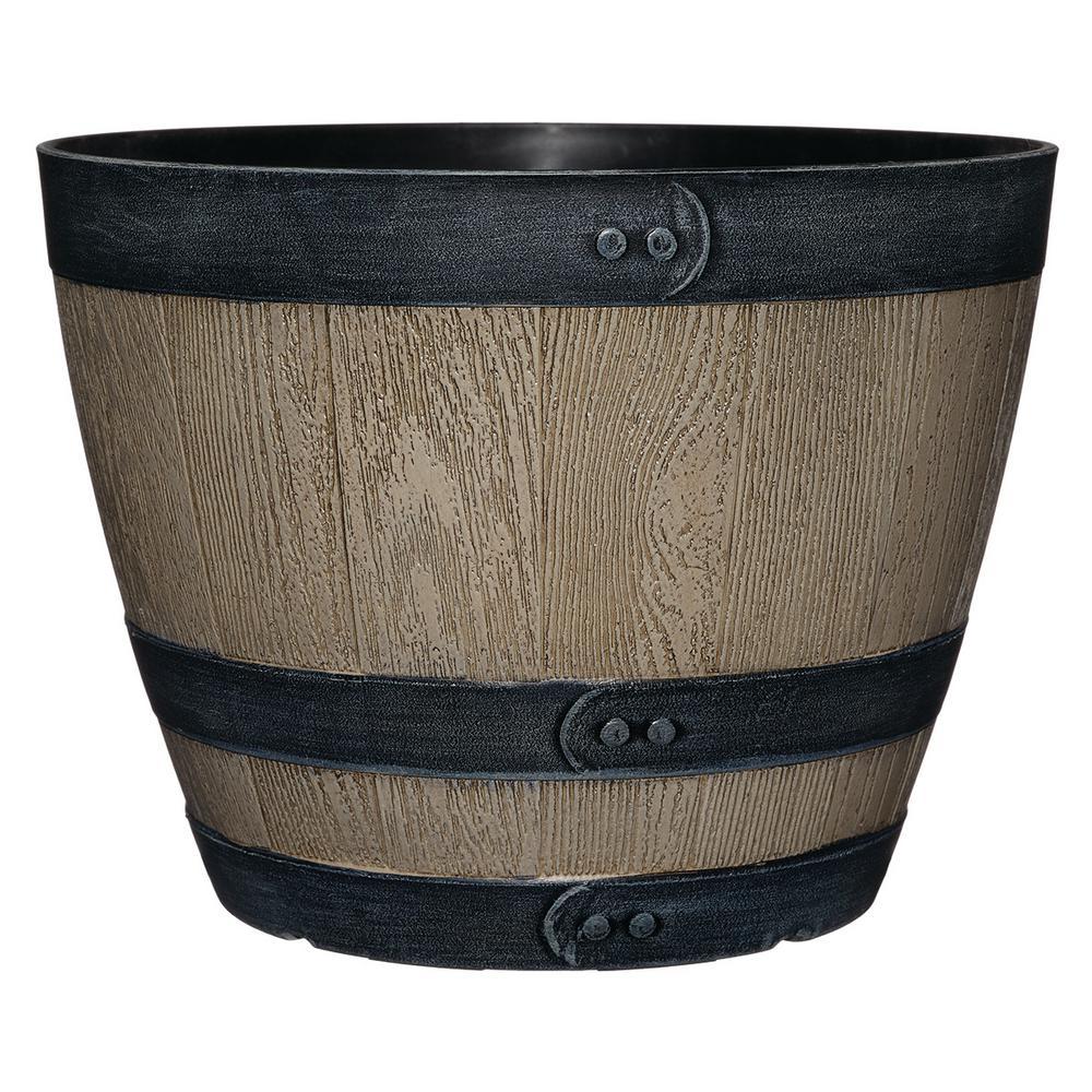 Napa 11.3 in. Driftwood Wine Barrel fits 10 in. Drop N Decorate