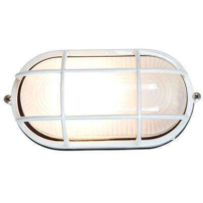 Nauticus 1-Light White Outdoor Bulkhead Light with Frosted Glass Shade