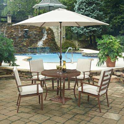 Key West Chocolate Brown 7 Piece Extruded Aluminum Outdoor Dining Set With Beige Cushions