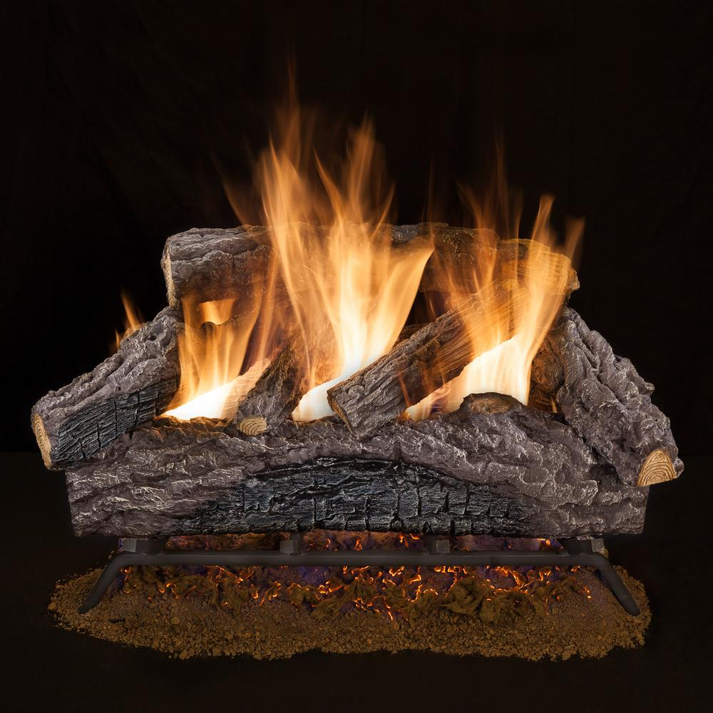 Emberglow 18 in. Charred River Oak Vented Natural Gas Log Set