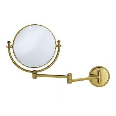 15 in. x 12 in. Framed Makeup Mirror with Swing Arm in Brass