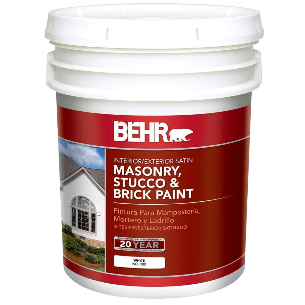 BEHR 5 Gal. White Satin Latex Masonry, Stucco and Brick Paint