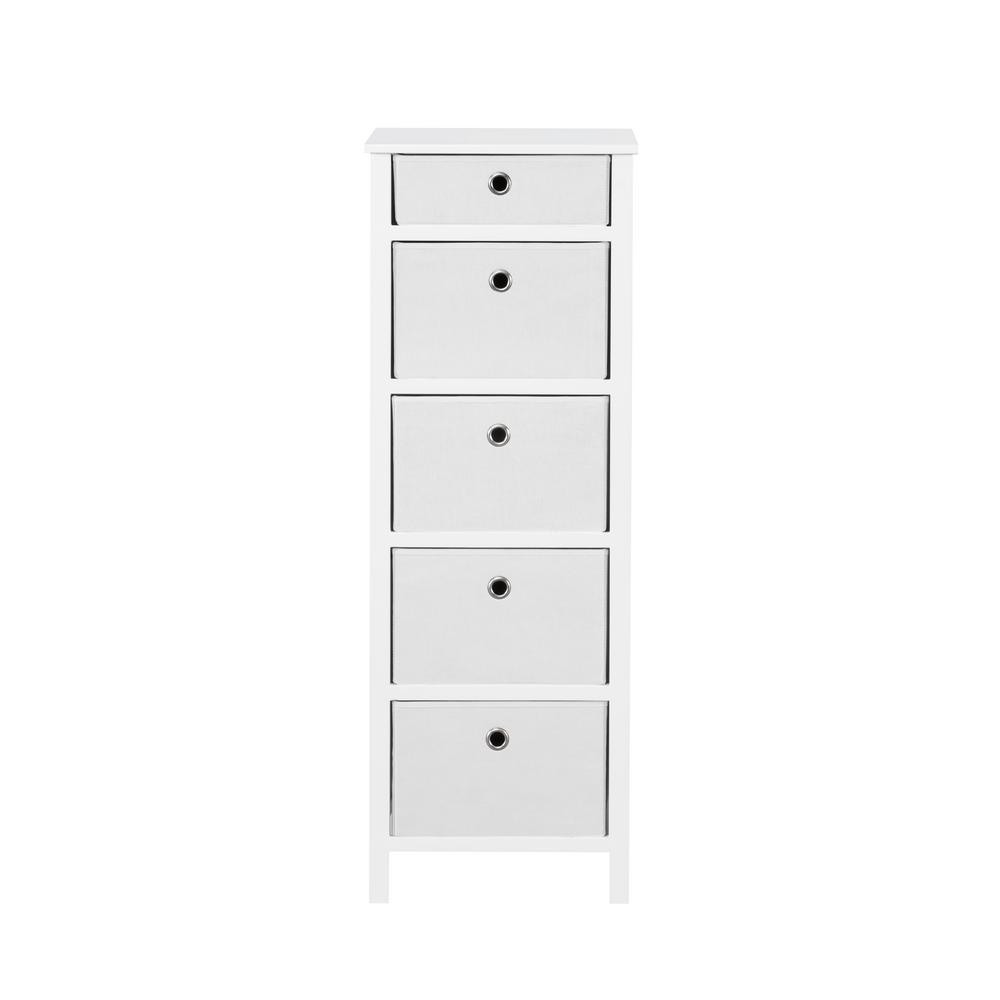 Achim Achim EZ Home Solutions 5-Drawer White Foldable Lingerie Chest