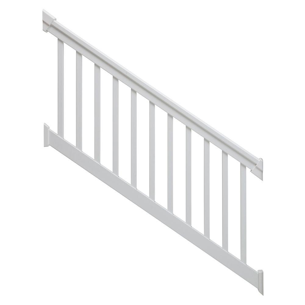 TAM-RAIL 6 ft. x 36 in. 36-Degree to 41-Degree PVC White Stair Rail Kit with Square Balusters