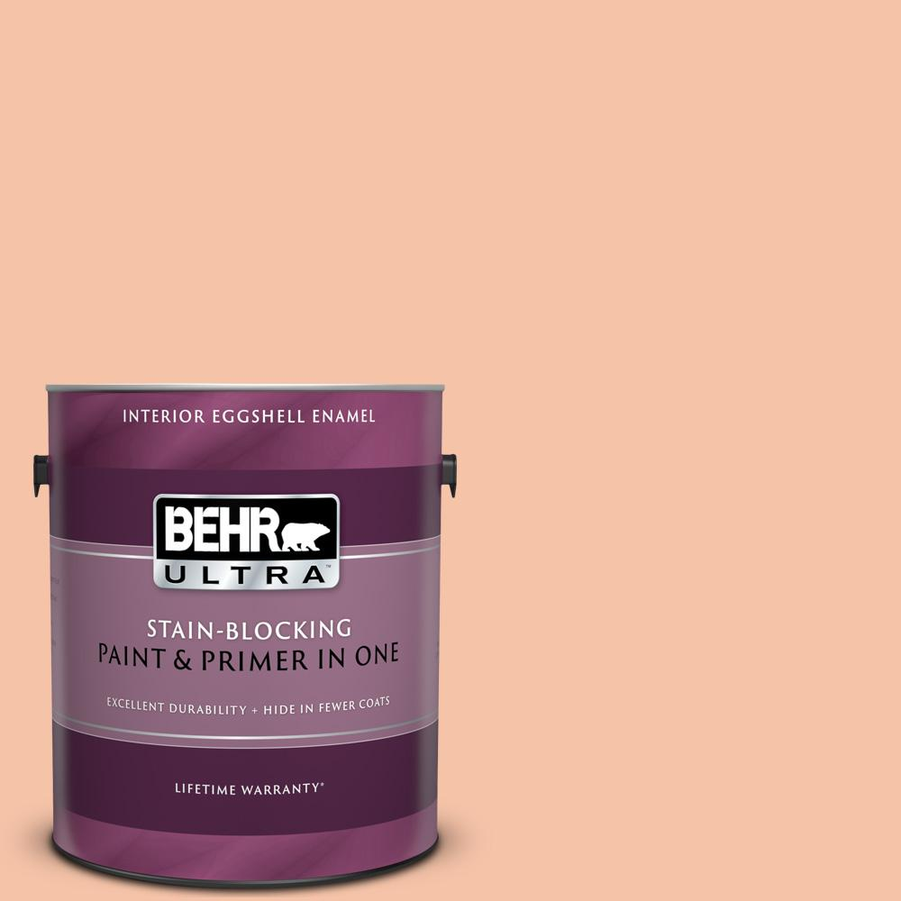 Behr Ultra 1 Gal 240c 3 Peach Damask Eggshell Enamel Interior Paint And Primer In One 275001 The Home Depot