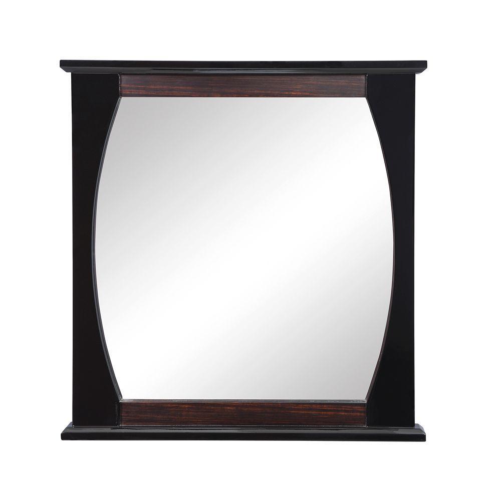 Natasha 30 in. W x 2.50 in. D x 32 in. H Wall Mirror in Ebony Black Gloss