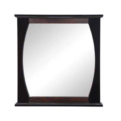 Natasha 30 in. W x 2.50 in. D x 32 in. H Wall Mirror in Ebony Black Gloss