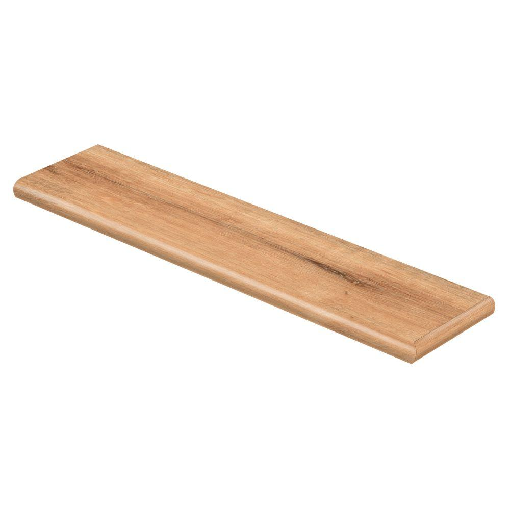 Cap A Tread Fresh Oak 94 in. L x 12-1/8 in. D x 1-11/16 in. H Vinyl Right Return to Cover Stairs 1 in. Thick