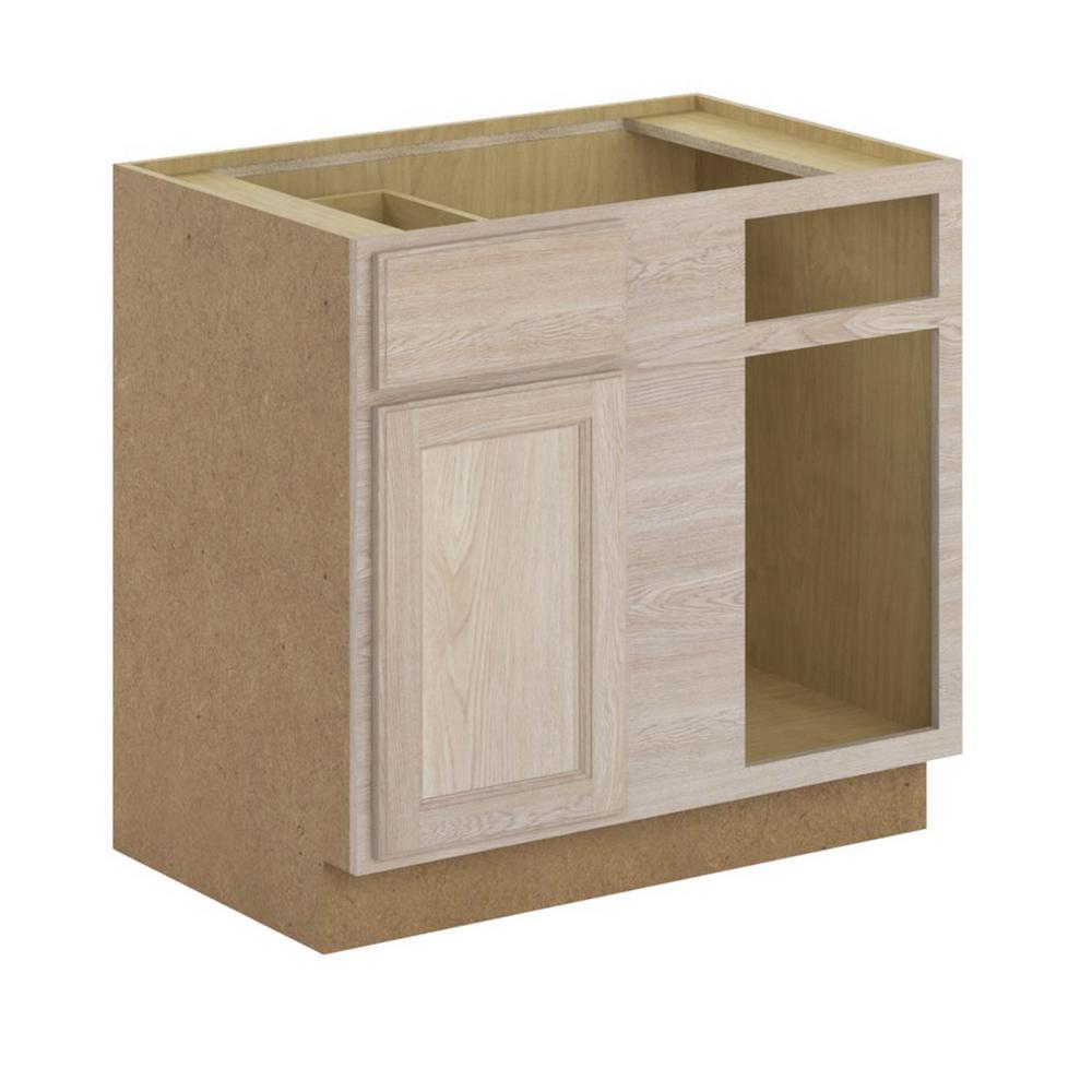 Blind Corner Base Cabinet in Unfinished Oak