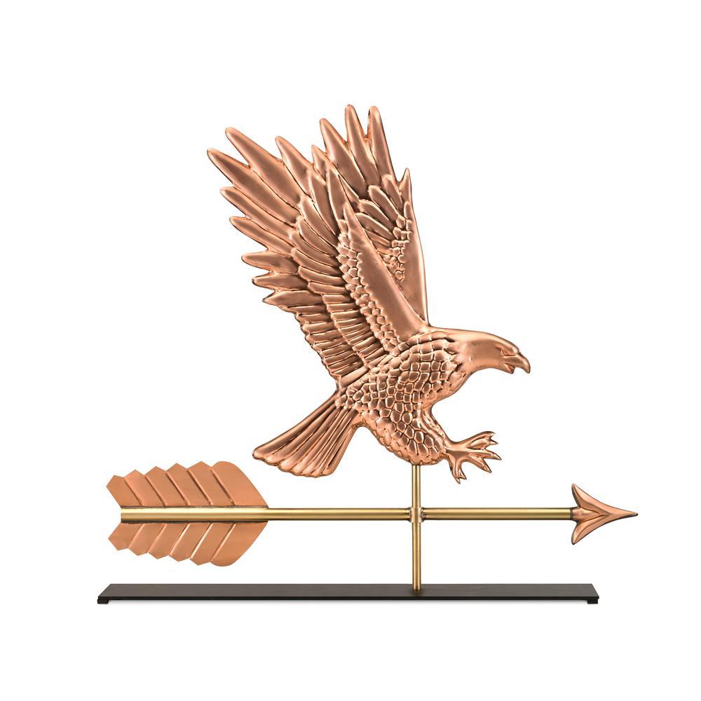 American Bald Eagle Pure Copper Weathervane Sculpture on Mantel Stand