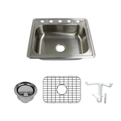 Select All-in-One Drop-In Stainless Steel 25 in. 5-Hole Single Bowl Kitchen Sink in Brushed Stainless Steel