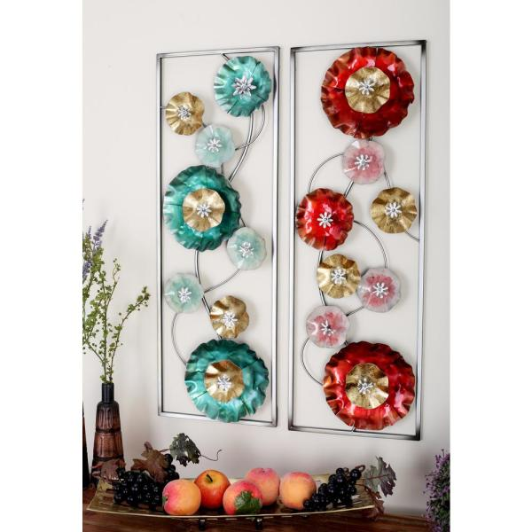 8b11f038bd Litton Lane 35 in. x 12 in. Metal Flower and Swirling Stem Wall Decors