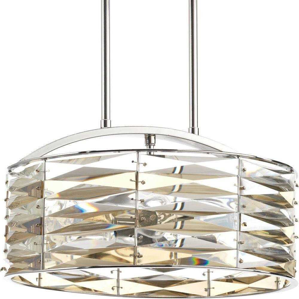Progress Lighting The Pointe Collection 5-Light Polished Chrome Pendant with Clear And Champagne Glass