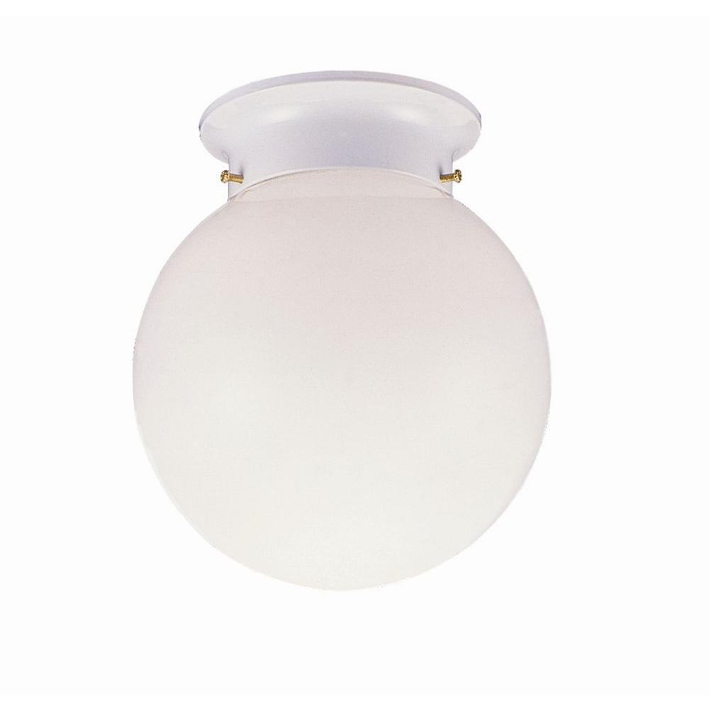 Design House 1-Light White Ceiling Fixture with Opal Glass