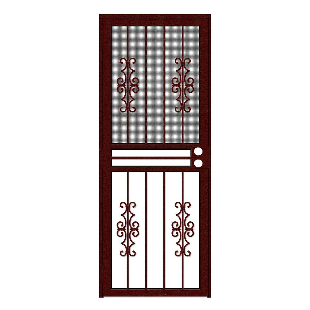 Unique Home Designs 30 in. x 80 in. Watchman Duo Wineberry Recessed ...
