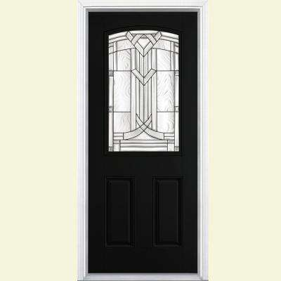 Single Door Black Decorative Doors With Glass Fiberglass