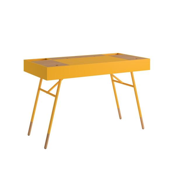 Marlowe Flip Compartment Yellow Writing Desk with Built In Outlets