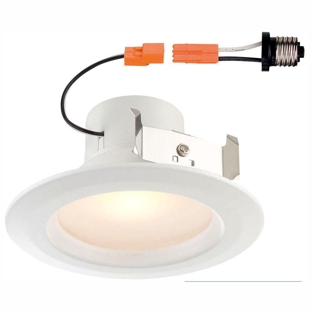 EnviroLite Standard Retrofit 4 in. White Recessed Trim Warm LED Ceiling Light with 92 CRI, 3000K (2-Pack)