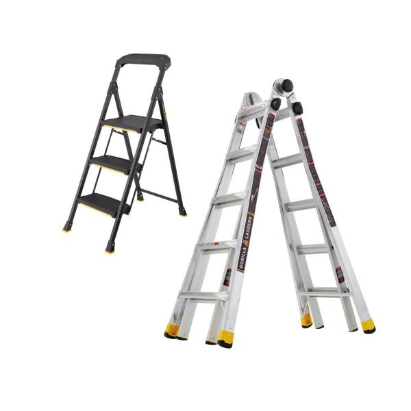22 ft. Reach MPXA Multi-Position/3-Step Pro-Grade Steel Step Stool (Combo-Pack)