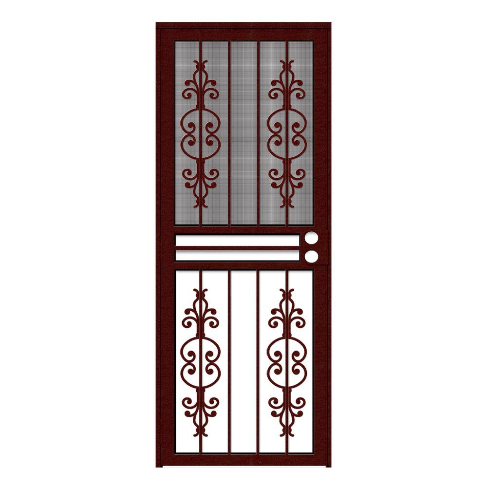 Unique Home Designs 30 in. x 80 in. Estate Wineberry Recessed Mount All Season Security Door with Insect Screen and Glass Inserts
