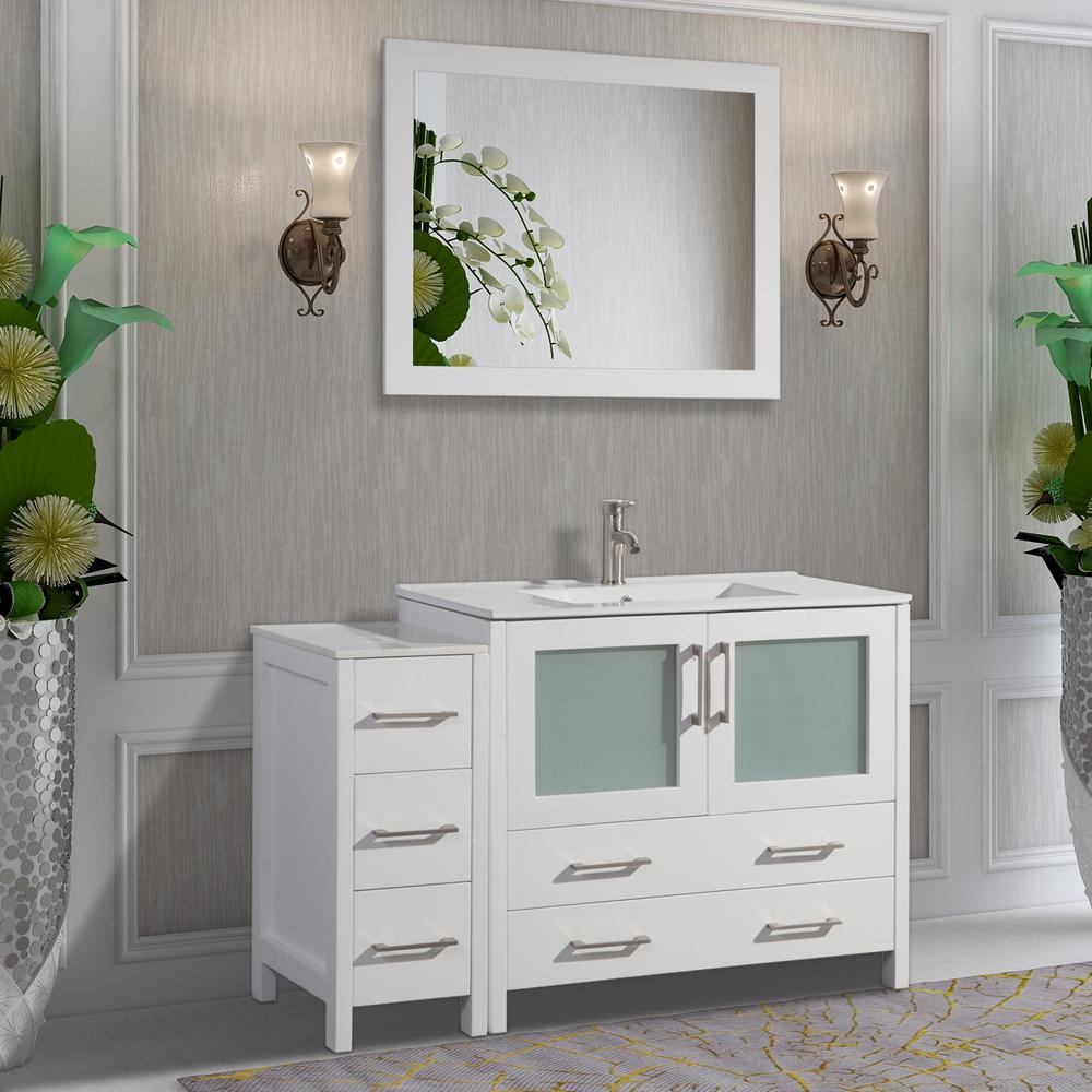Brescia 48 in. W x 18 in. D x 36 in. H Bathroom Vanity in White with Single Basin Vanity Top in White Ceramic and Mirror